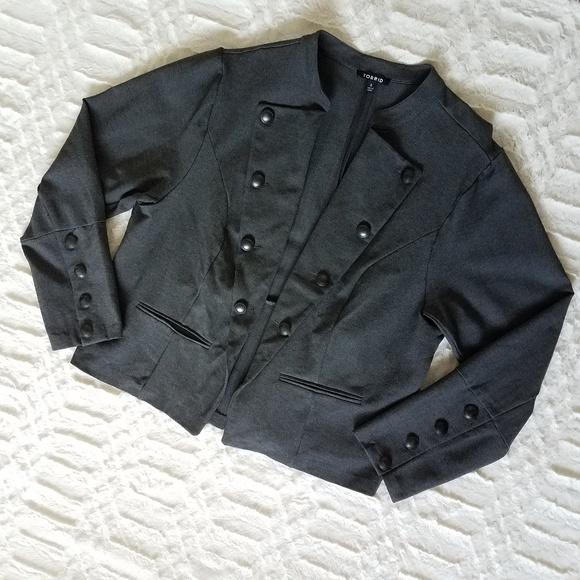 b0f11f4066b Torrid Grey Ponte Military Jacket. M 5b340b4aaa87705fe36b06d3